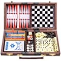 TukTek Travel 6 Games in 1 Family Fun Play Set for Game Night w/ Adults & Kids