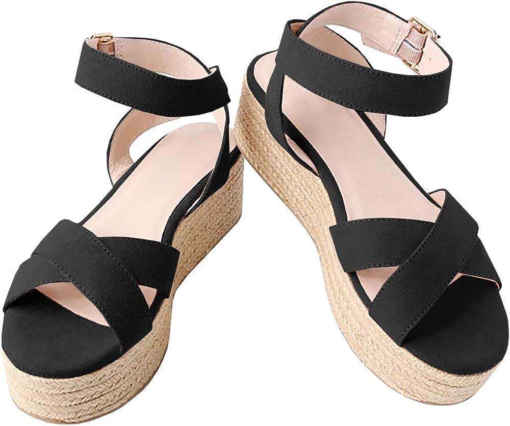 flatform espadrille sandals black