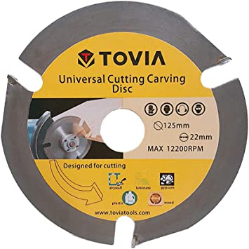 TOVIA 3 Teeth 5 Wood Carving Wheel,Angle Grinder Attachments,Multipurpose Log Grinder Disc for Wood Cutting Shaping with 7//8 Arbor