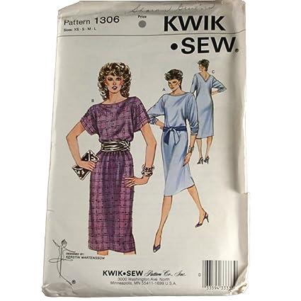 Amazon Kwik Sew Sewing Pattern 1306 Misses Knit Dress Size Xss