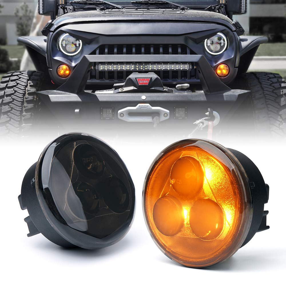Xprite Amber LED Turn Signal Light Assembly with Smoke Lens for 2007-2018 Jeep Wrangler JK by Xprite