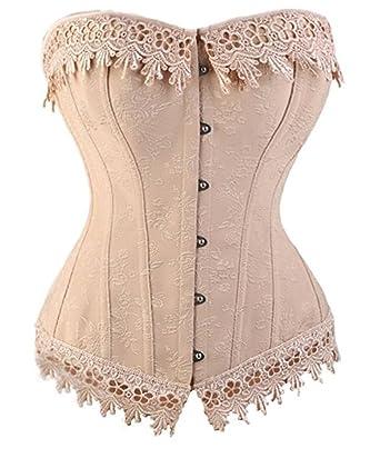 49c88ff975 I-Curves Vintage Pink Flower Rose Embroidered Golden Thread Trim Boned Corset  Basque S (