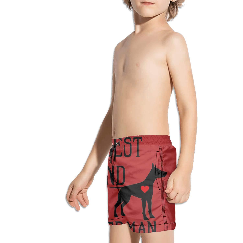 JIONONDS My Best Friwnd is Doberman Dog Kids Solid Board Core Pocket Swim Shorts