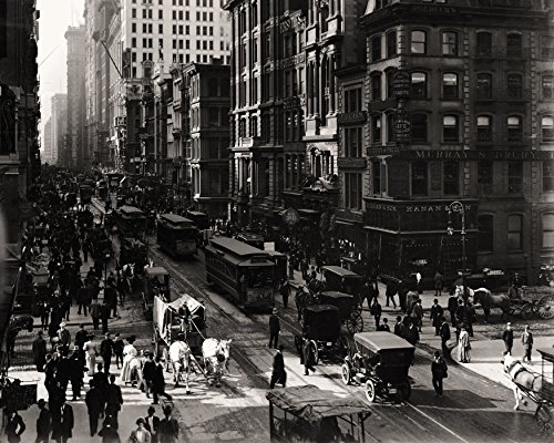 Broadway At Fulton Street New York Early Rare Reproduction Vintage and Antique Art or Artwork Collection of Old Photos of Cities Like New York or New York City, Boston, Atlantic - Fulton Street Stores
