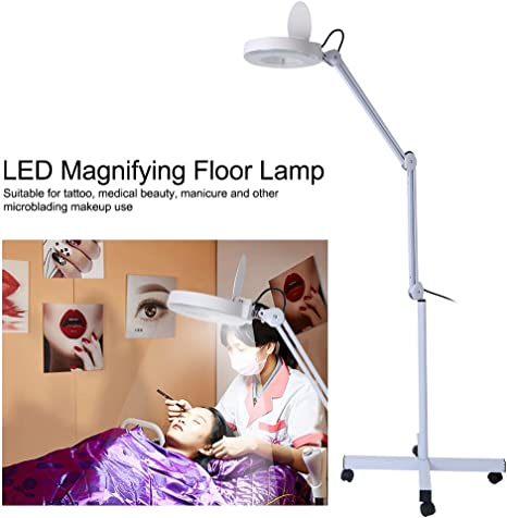 Knitting Craft Jewelry Making Sewing Repairing LED Magnifying Floor Lamp 8X Magnifier Glass Light Lens Mobile Illuminated Lamp with Swivel Arm for Reading
