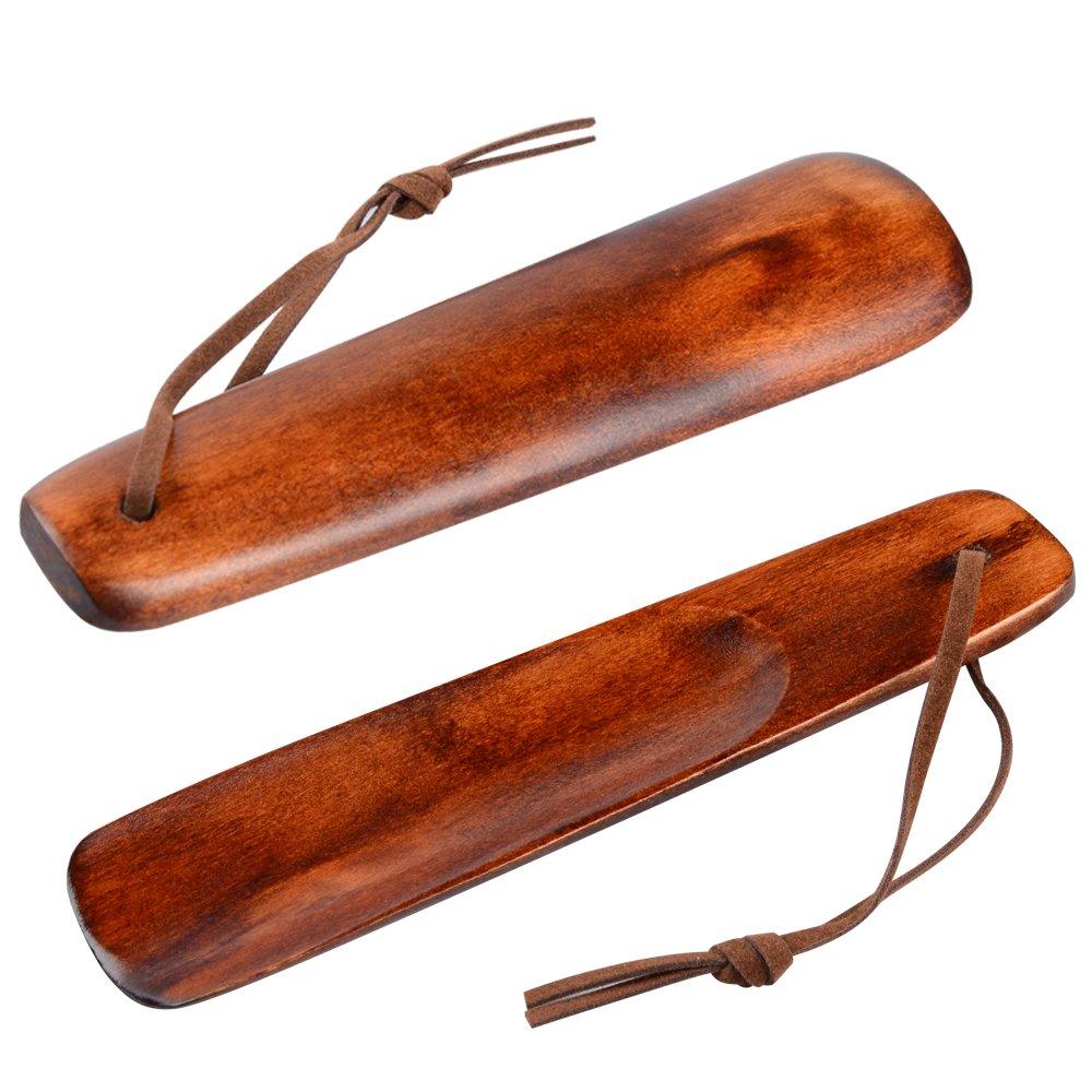 Soumit Chausse-pieds Durable en Bois 15,5cm (2 pièces), avec Corde en Cuir Antidérapant, Poids léger, Surface Lisse, Robuste et Confortable SO_2FJ2HMXB