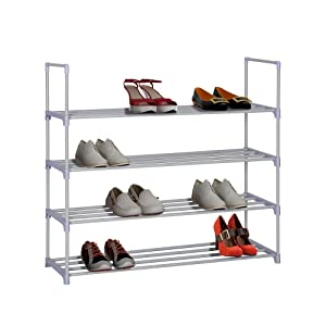 """HOME BI 4 Tier Shoe Rack, 20 Pairs Shoes Storage Organizer Closet for Home, Anti-Rust, Easy to Assemble, No Tools Required, 35.6""""W x 12.0"""" D x 33.27""""H, Grey"""