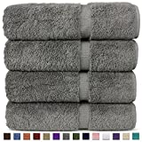 Chakir Turkish Linens Luxury Hotel & Spa Bath Towel Turkish Cotton (Set of 4, Gray)