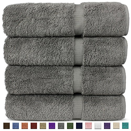 Luxury Premium Long-Stable Hotel & Spa Turkish Cotton 4-Piece Eco-Friendly Bath Towel Set (Gray)