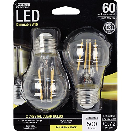 Feit Electric - Decorative Clear Glass Filament LED Dimmable 60W Equivalent Soft White (2700K) Classic A15 Light Bulb, Pack of 2 - Bulbs Electric Light Feit