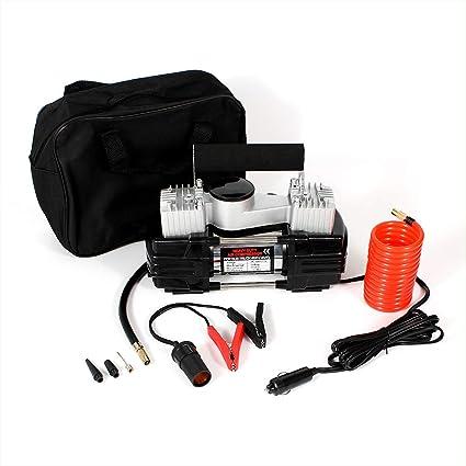 Bomba de compresor de aire portátil, con indicador de presión analógico, luz LED,