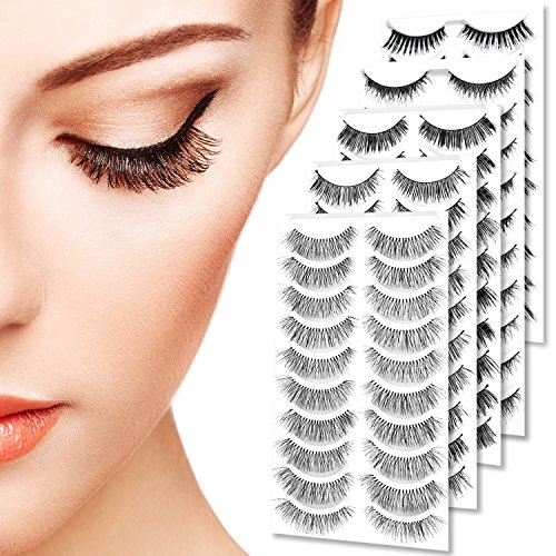 Goldrose 50 Pairs Black Long  Natural Fashion Thick Soft Reusable False Eyelashes Fake Eye Lash Extension Handmade for Makeup Cosmetic ( 5 Kinds of S…