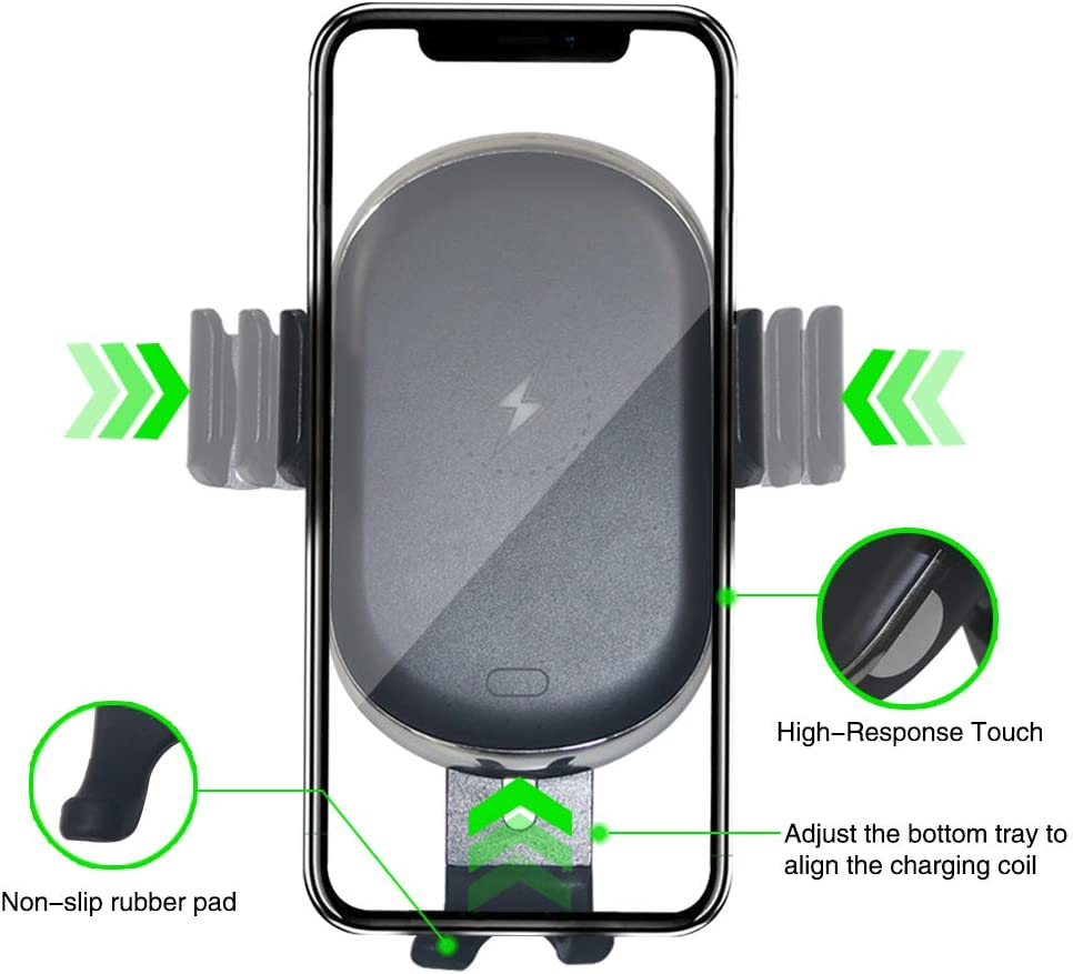 Auto-Clamp Qi Fast Charging Windshield Dashboard /& Vent Car Phone Holder Wireless Car Charger Mount for All QI-Enabled Phones ZC GEL Car Wireless Charger