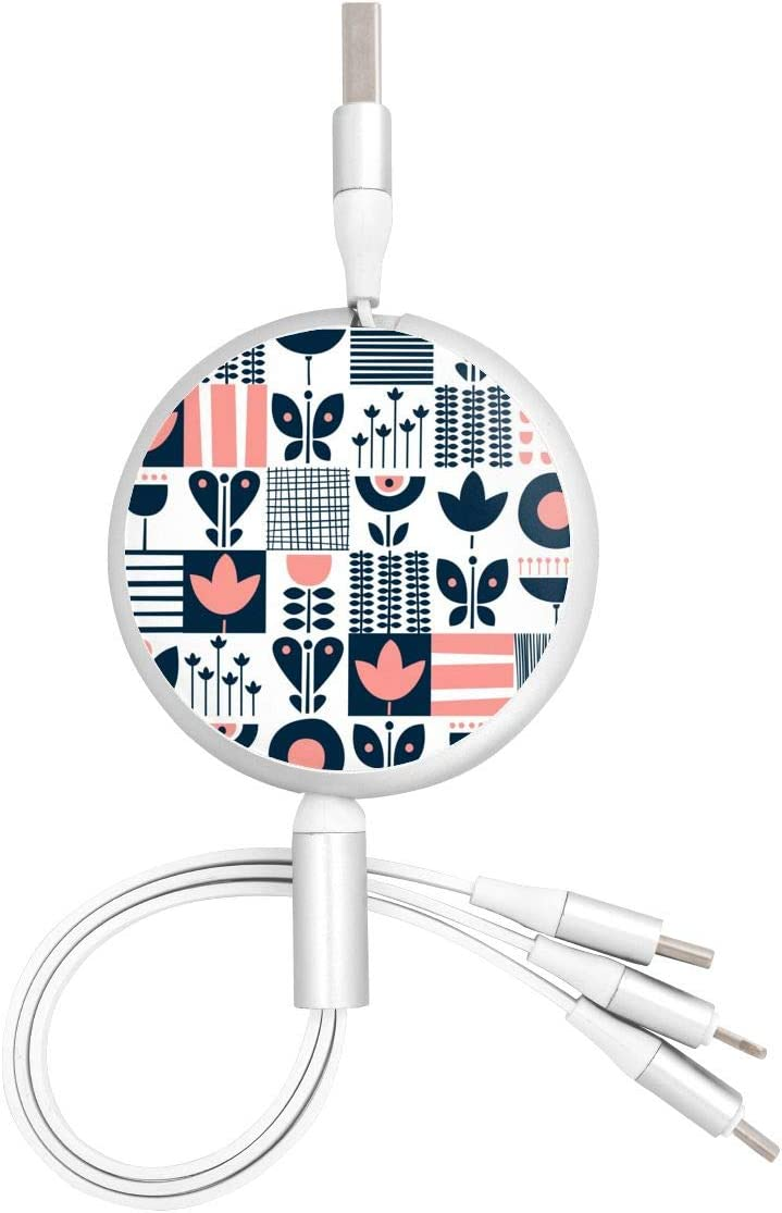 Retractable Multi USB Charging Cable Fast Charger Cord 3 in 1 Folk Art Pattern with Type C Micro USB Port Connectors