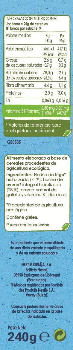 Nestlé Naturnes Bio - Papilla de cereales Trigo y Avena sabor Galleta - Alimento Para bebés - 6x240g