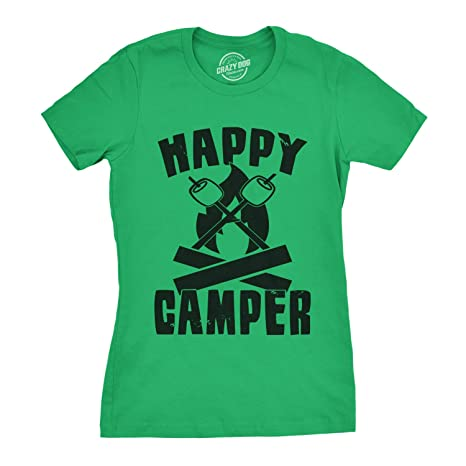 431d2da5 Womens Happy Camper Shirt Funny Camping Shirts Cool Vintage Tees Retro  Design (Green) -