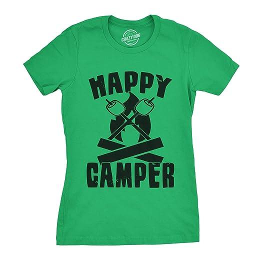 Amazon.com: Womens Happy Camper Shirt Funny Camping Shirts Cool ...