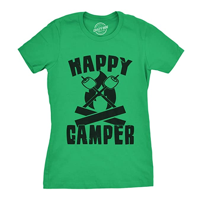 69bde431 Womens Happy Camper Shirt Funny Camping Shirts Cool Vintage Tees Retro  Design (Green) -