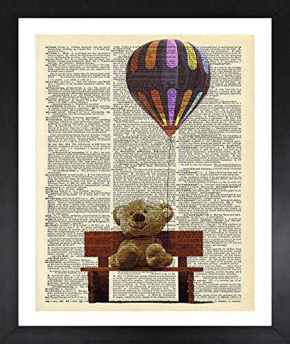 Tuscany Shelf (Handmade Kitchen Wall Art Teddy Bear Picture Dictionary Print Vintage 8x10 Upcycled Abstract Prints Wall Art for Home Decor Wall Decorations For Living Room Bedroom Office Ready-to-Frame)