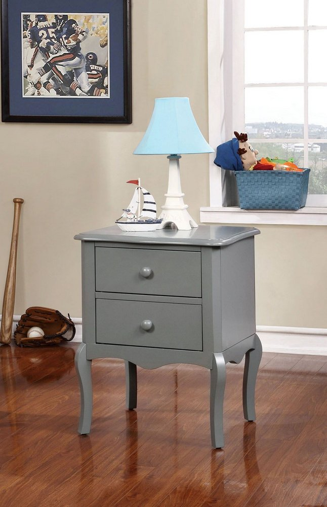 Lexie Cottage Style Gray Finish Youth Nightstand