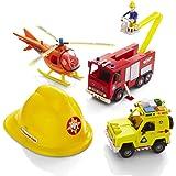 Sam le Pompier - Coffret très complet : Grand modèle du camion de Sam (Jupiter) - Voiture Vénus Grand Modèle - Hélicoptère Grand Modèle - 1 figurine articulée de Sam le pompier - 1 casque de pompier pour enfant -