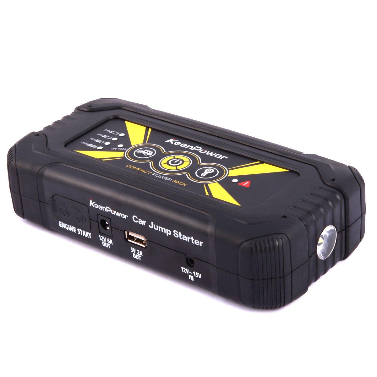 Keenpower Mini Tragbar Auto Starthilfe 12V Auto-Styling Start Gerä t Ladegerä t Autobatterie 600A Booster Buster (600A ROT)