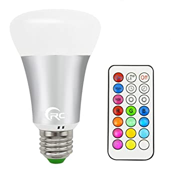 RC 10W RGB+White Color Changing Light Bulb,E27 Dimmable RGB LED Light Bulbs