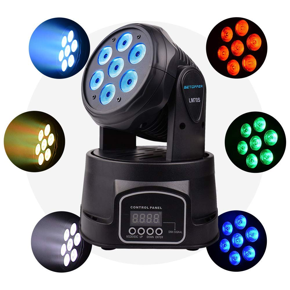 Betopper DMX 512 Stage Lighting 7x8W LED Spot Light Professional Mini Moving Head Lights RGBW 4 in 1 Strobe Effect 9/14 Channels for Restaurant,Club,Wedding,Home Party
