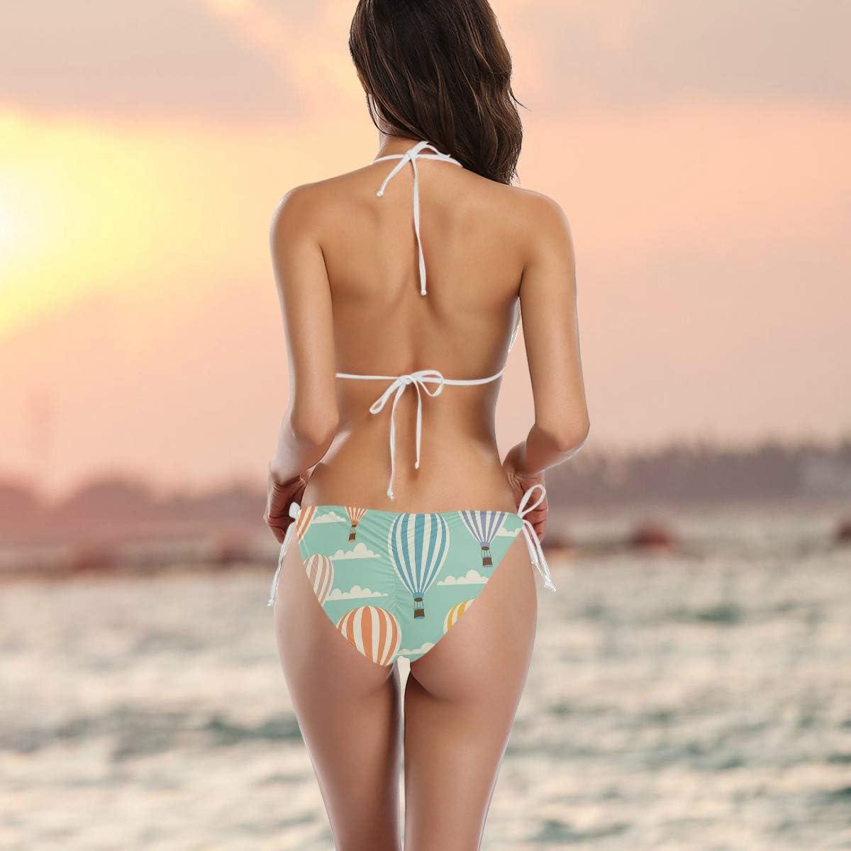 Sexy Motivo Mongolfiera FANTAZIO Costume da Bagno colorato Bikini a Triangolo da Donna