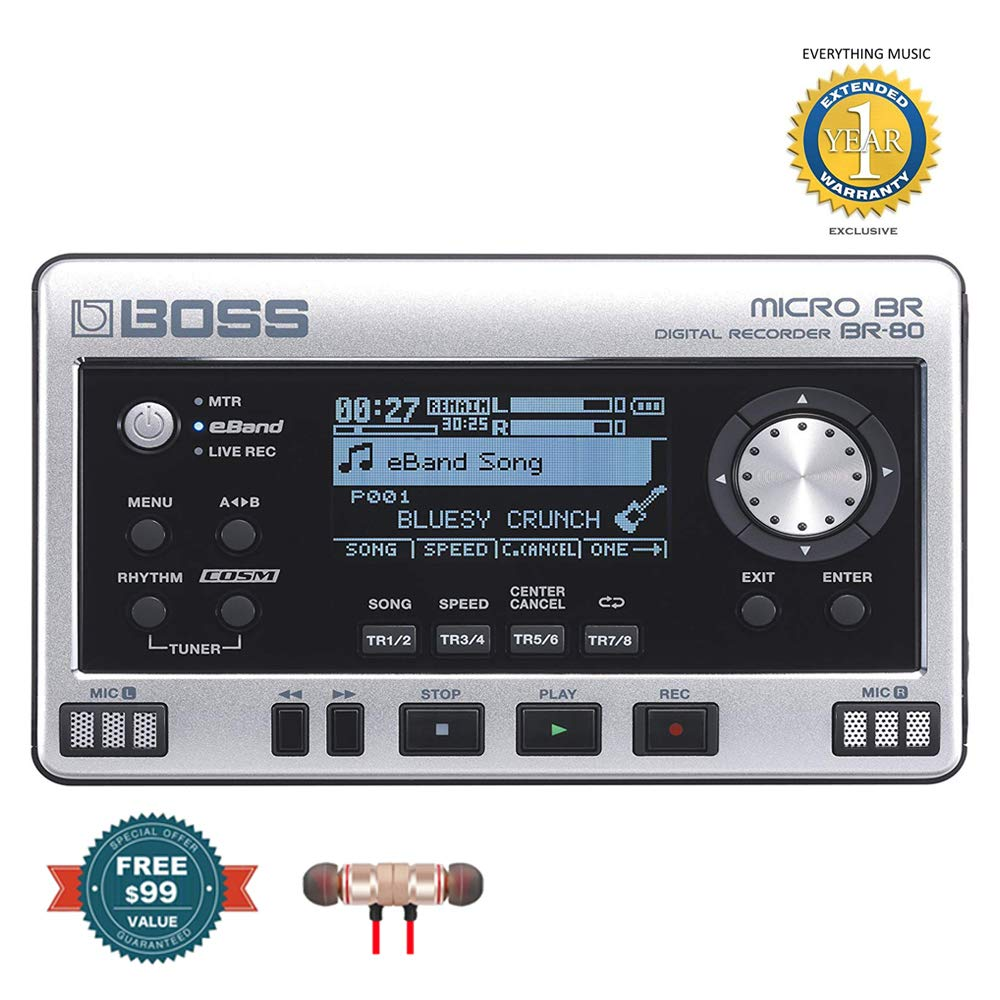 Boss MICRO BR BR-80 8-Track Digital Recorder includes Free Wireless Earbuds - Stereo Bluetooth In-ear and 1 Year Everything Music Extended Warranty