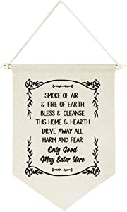 chillake Vintage Home Blessing Quotes Only Good May Enter Here Banner Flag Wall Hanging Decor Gift - Spiritual Cotton Canvas Wall Banner Gifts for Witchy Decor Home Wall Art Decorations