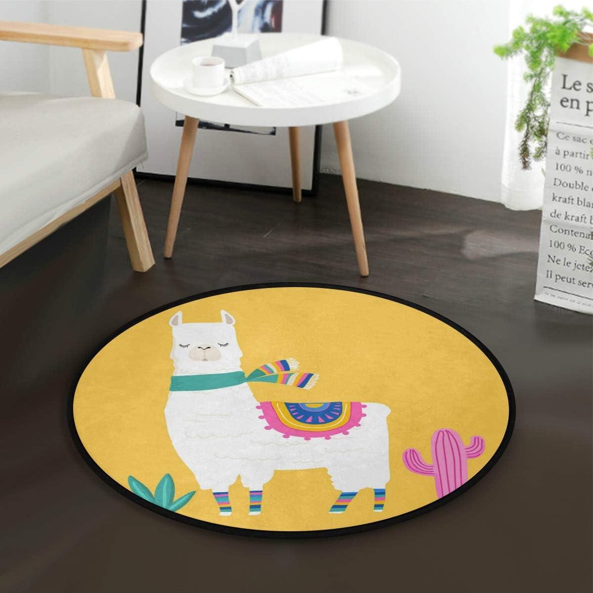 Amazon Com Round Area Rugs Llama Yellow Non Slip Soft Carpet Living Room Bedroom Doormats Kitchen Floor Mat Bath Rug For Home Decor 3 Ft Diameter Kitchen Dining