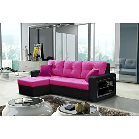 JUSThome Forte Corner Sofa Corner Group Sofabed Artificial Suede ...
