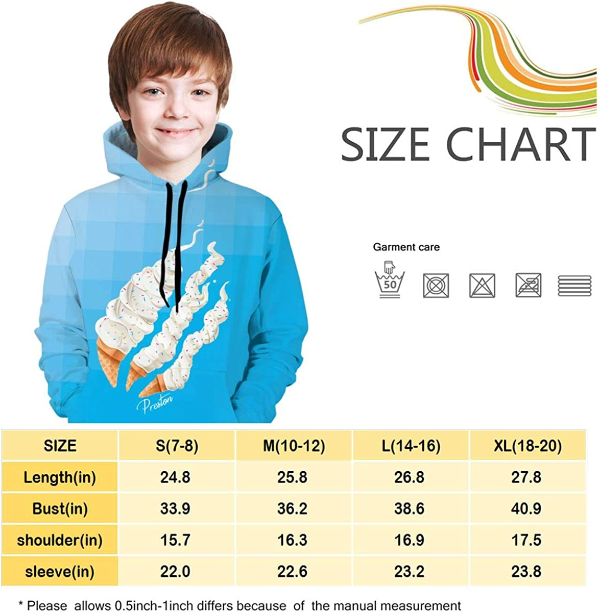 Blue,L Preston Playz Ice Cream Youth Hoodie Pullover Hooded Sweatshirt for Boys and Girls