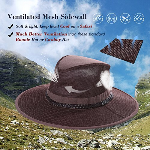 UPF 50+ Crushable Mesh Breezer Safari Sun Hat Chin Strap Wide Brim Fishing  Hiking Walking Boonie Hat Siggi  Amazon.co.uk  Clothing f1b04380bdf