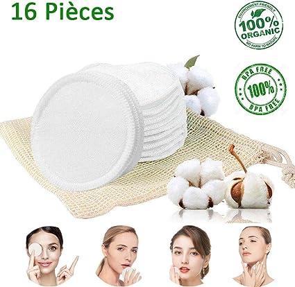 Algodón desmaquillante lavable – algodón reutilizable orgánico de bambú – Almohadillas desmaquillantes para la cara, los ojos, los labios y la piel.: Amazon.es: Belleza