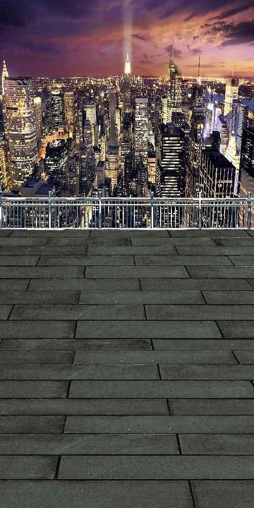 GladsBuy City Night 10' x 20' Digital Printed Photography Backdrop Fence and Pillars Theme Background YHA-283