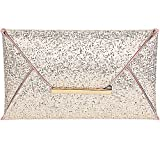 Jubileens Women Glitter Sequins Handbag Party Evening Envelope Clutch Purse Wallet (Gold)