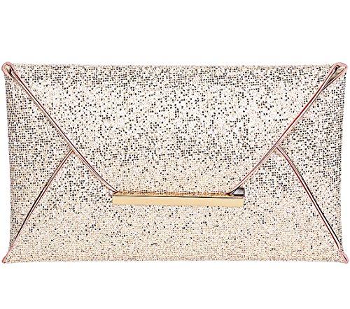 Jubileens Women Glitter Sequins Handbag Party Evening Envelope Clutch Purse Wallet (Gold) - Clutch Purse