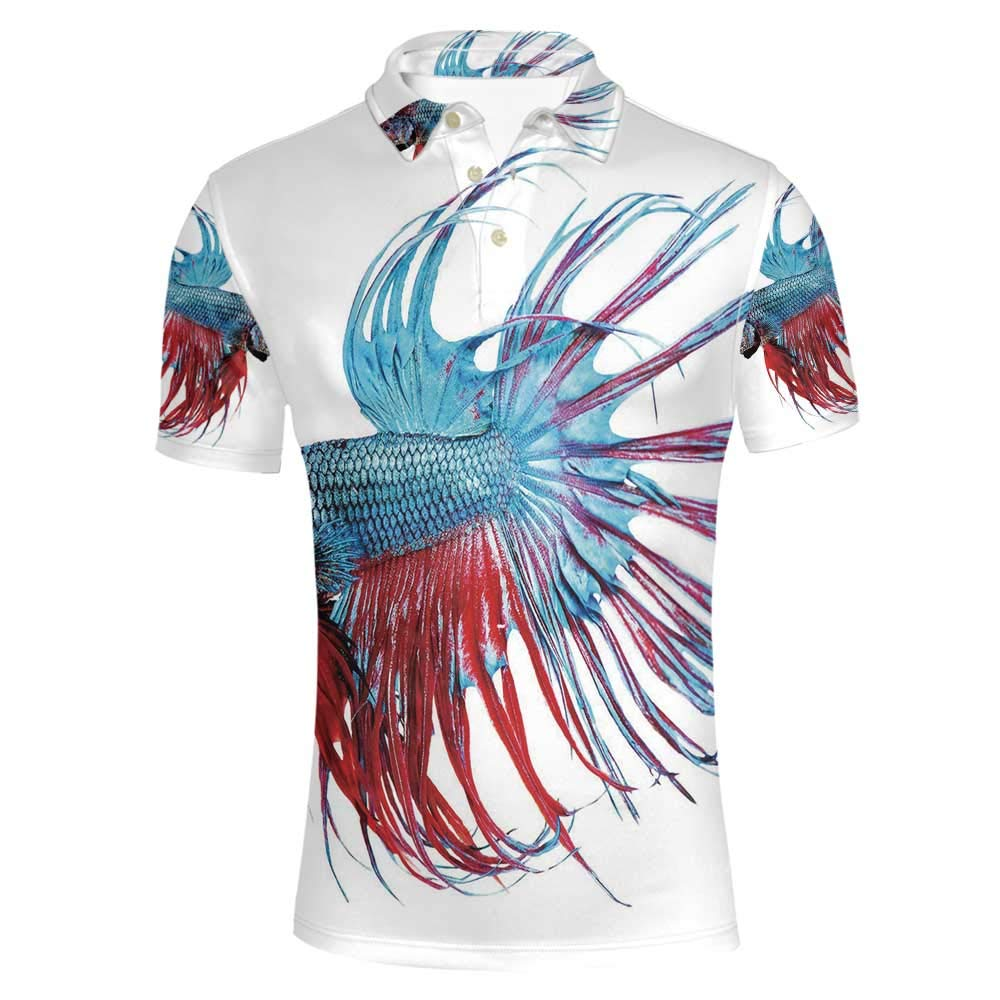 Aquarium Stylish Polo Shirt,Fantastic Betta Fish Close Up Dragon Fish with Fringy Tail Tropic Aquatic Life Decorative for Men,M