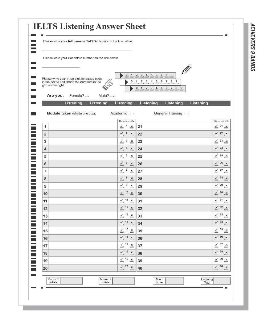 Ielts Reading Answer Sheet Pdf