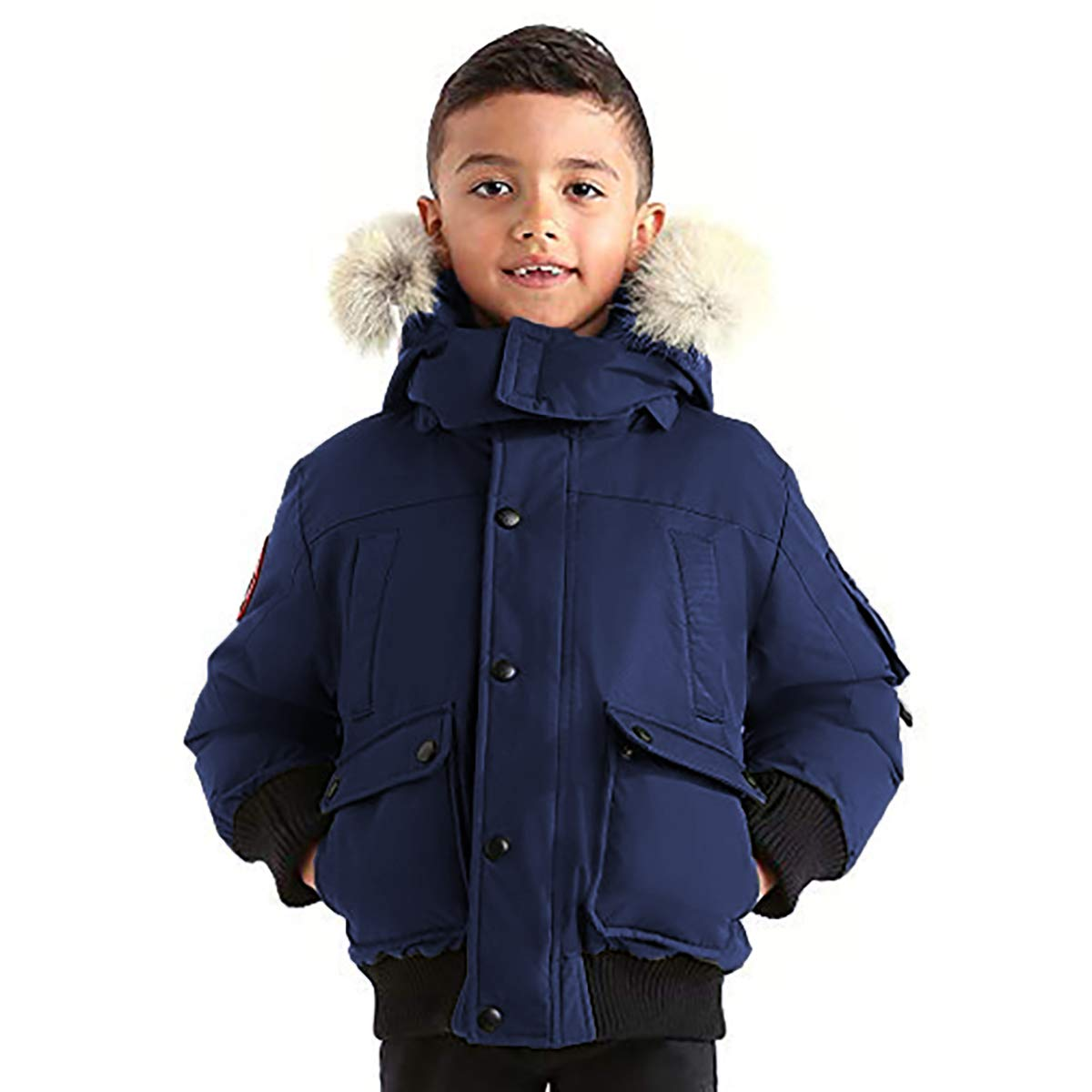 Triple F.A.T. Goose Grinnell Boys Down Jacket with Real Coyote Fur (7, Navy)