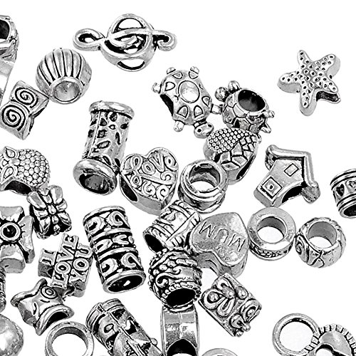 RUBYCA 100Pcs Tibetan Silver Color Metal Charm Beads Assortment Mix Designs for Jewelry Making