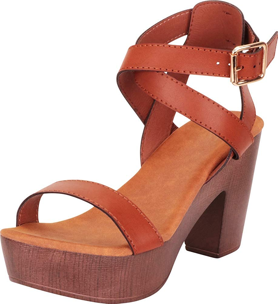 Tan Pu Cambridge Select Women's Retro 70s Crisscross Strappy Chunky Platform Block Heel Sandal