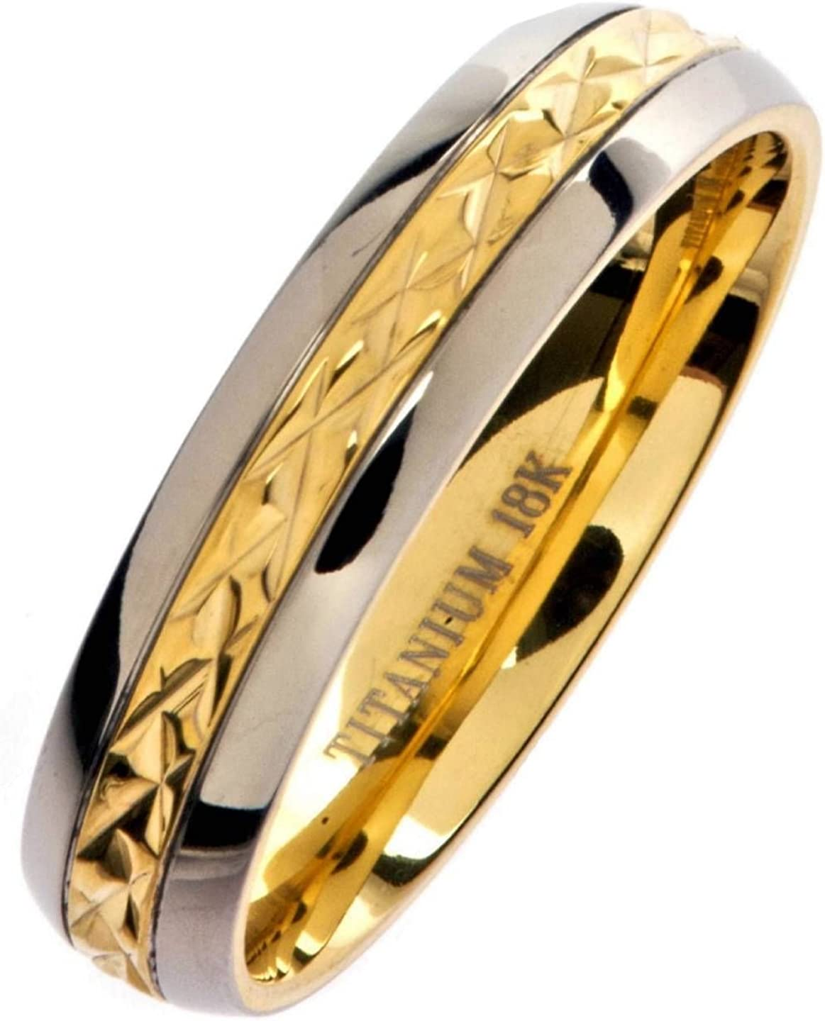 Titanium Yellow IP-plated Grooved 7mm Polished Band Size 13.5 Length Width 7