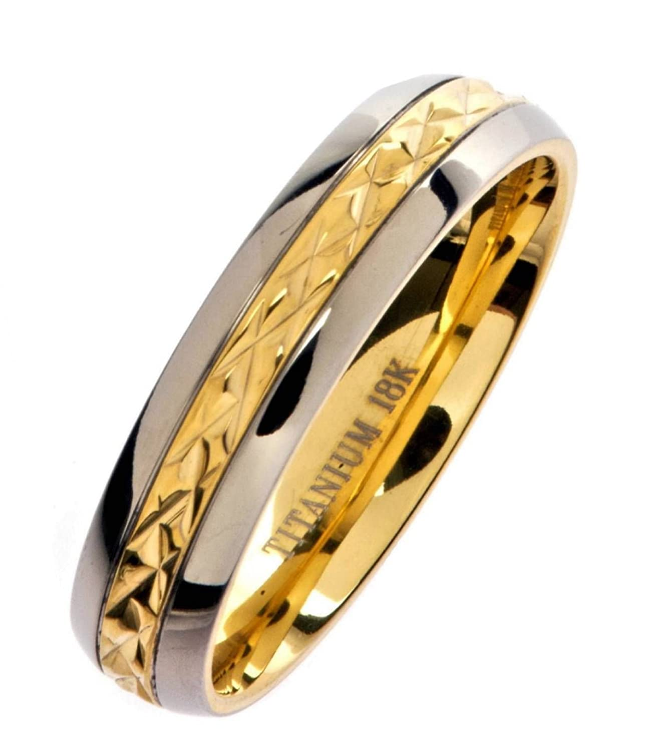 5mm 18K Gold Plated Wedding Ring Grade 5 Titanium Band Comfort Fit Size 9