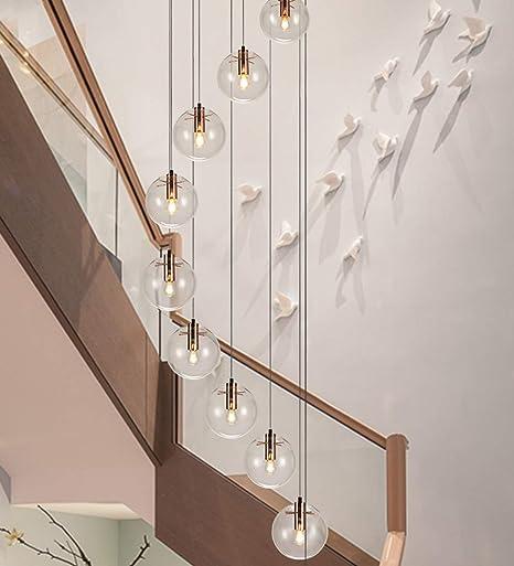 MLSHLF LAMP Spiral Staircase Long Chandelier Modern Minimalist Creative Hotel Villa Duplex Stairwell Chandelier Glass Ball Simple Chandelier