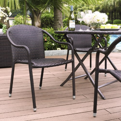 Crosley Furniture CO7109-BR Palm Harbor Outdoor Wicker Stackable Chairs (Set of 4) - Brown (Outdoor Wicker Dinning Chair)