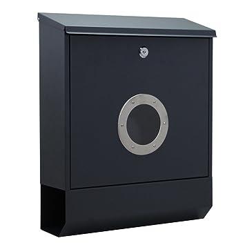 Modell A, A Type Briefkasten Anthrazit Edelstahl Wandbriefkasten Postkasten Mailbox Abschlie/ßbar mit Zeitungsfach