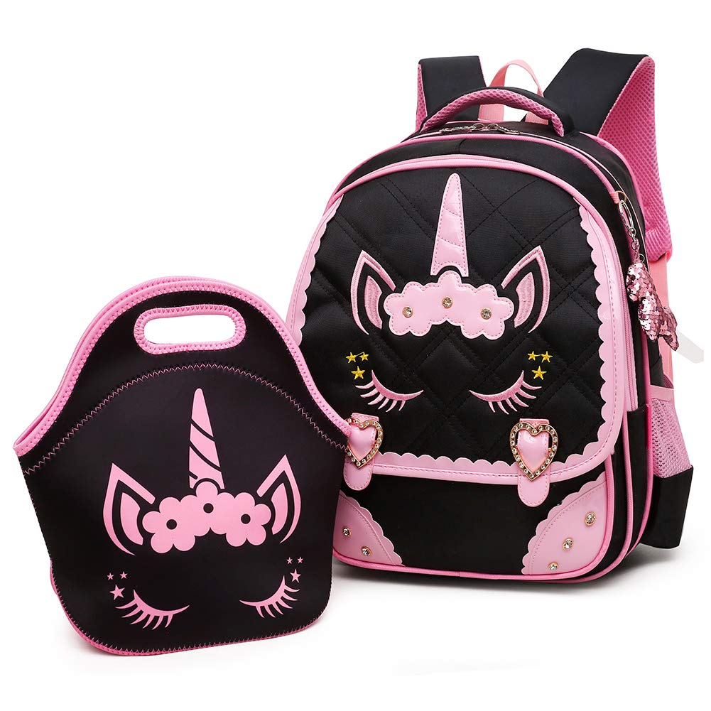 Moonmo Cute Unicorn Face Diamond Bling Waterproof Pink School Backpack Set Girls Book Bag (Large, Black Set) by Moonmo